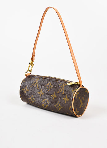 "Louis Vuitton Brown Coated Canvas Leather ""Mini Papillon"" Barrel Pochette Bag Sideview"