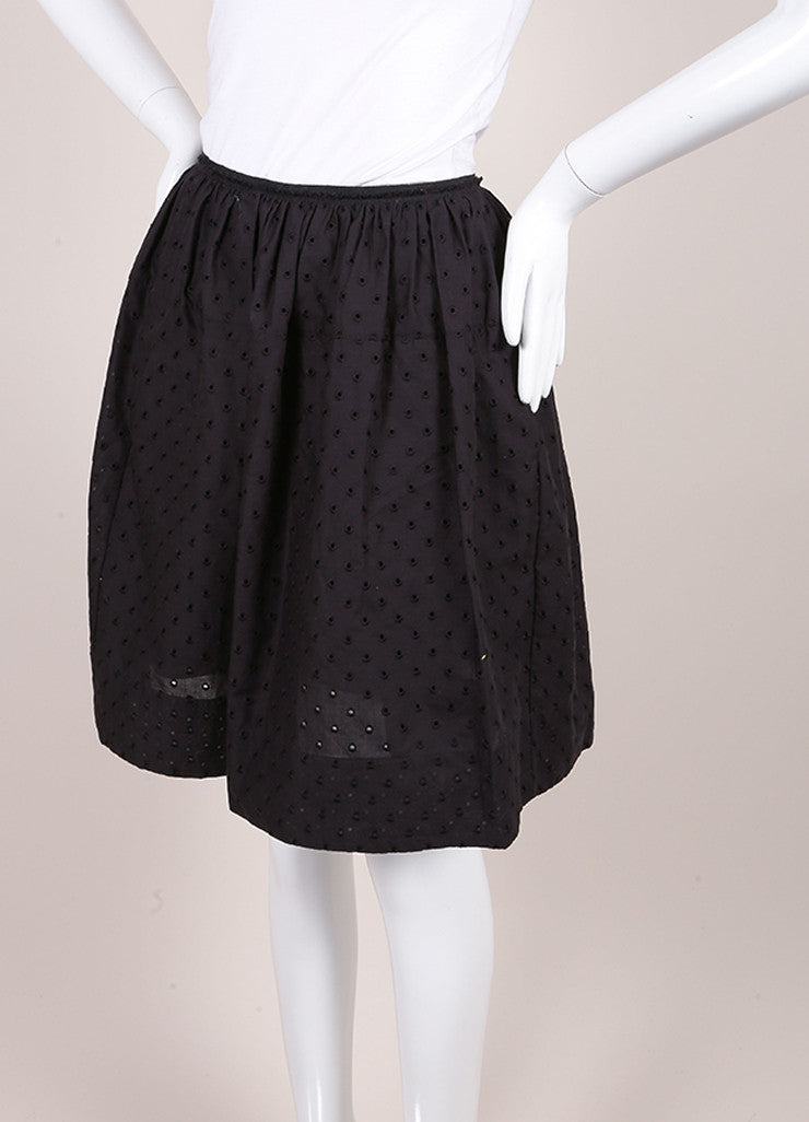 Marc Jacobs New With Tags Black Cotton Eyelet Knee Length Yoked Skirt Sideview