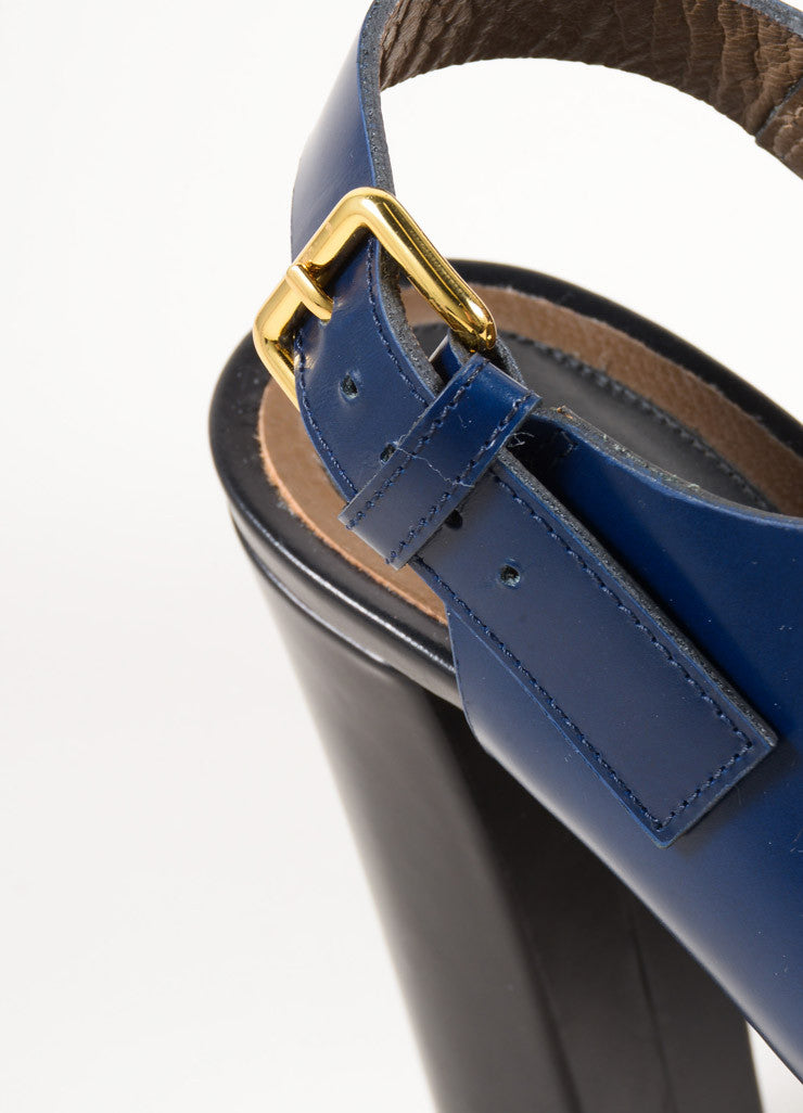 Marni Black and Navy Glossy Leather Slingback Platform Sandals Detail