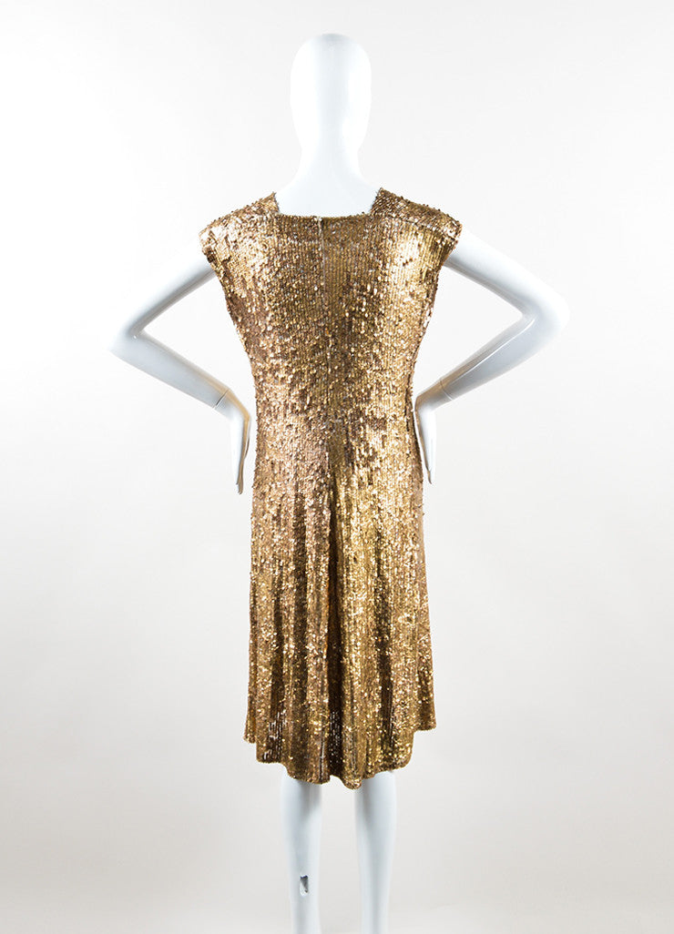 Marni Gold Sequin Semi Sheer Sleeveless Dress Backview