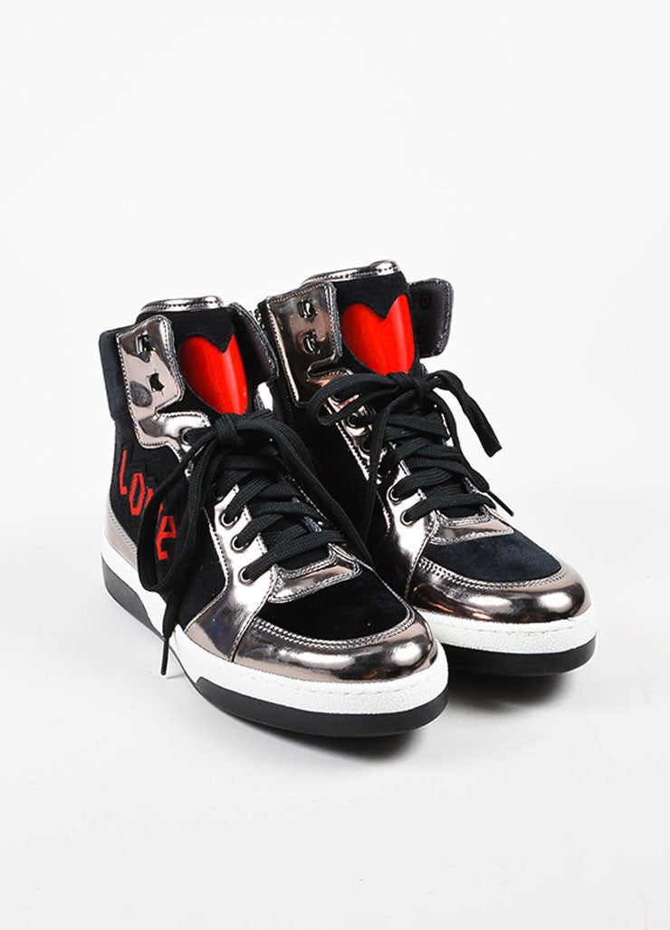 "Moschino Silver and Black Suede Leather ""Love"" High Top Sneakers Frontview"