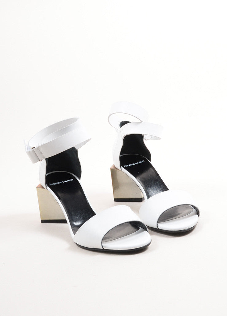 "Pierre Hardy White Leather Metallic Block Heel ""Monolite"" Sandals Frontview"