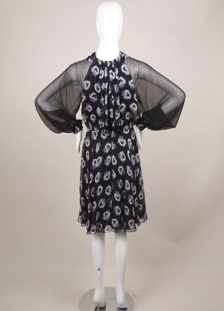 Prabal Gurung New With Tags Black and White Silk Floral Print Sheer Sleeve Dress Backview