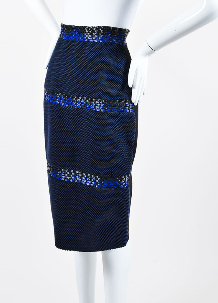 Blue and Black Roksanda Wool, Cotton, and Plastic Woven Pencil Skirt Sideview