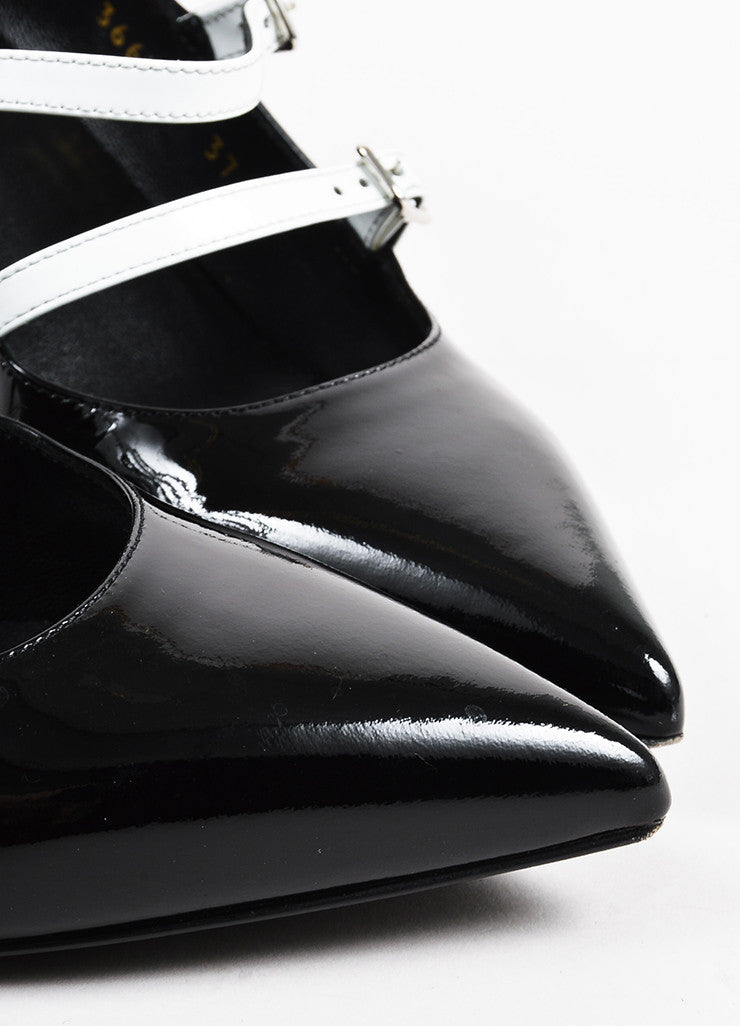 Saint Laurent Black White Patent Leather Pointed Toe Buckle Heels Detail