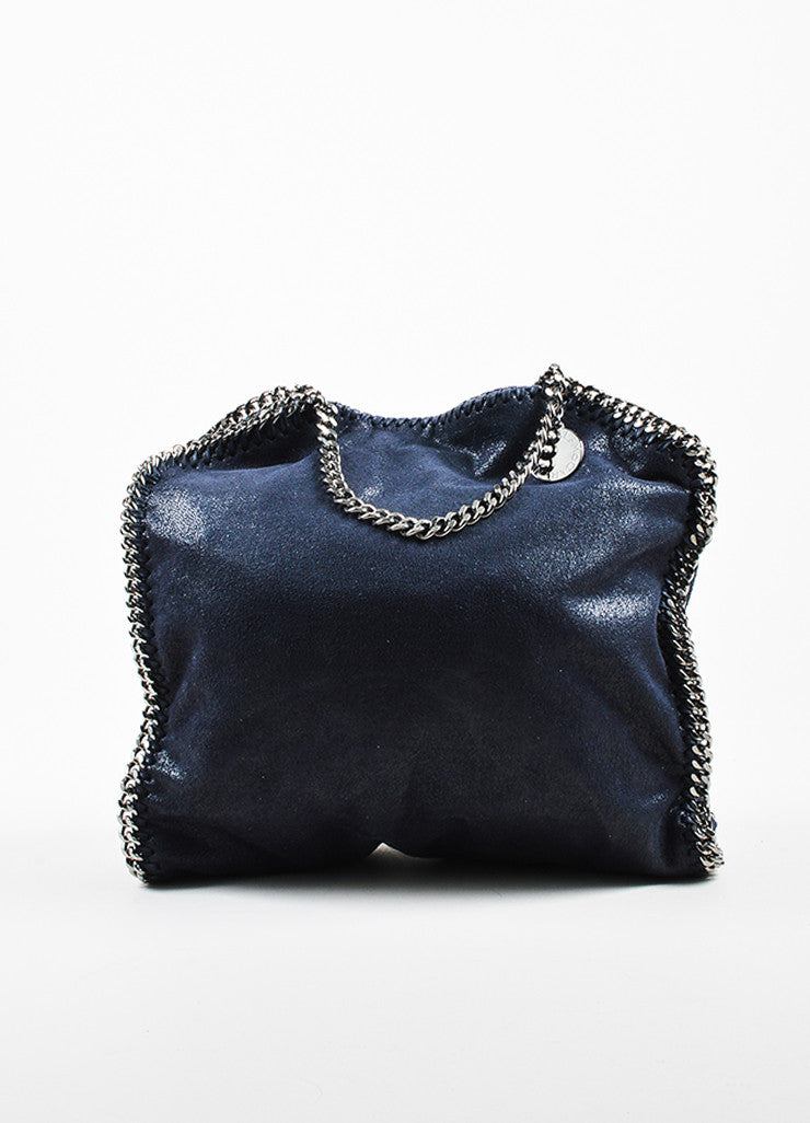 "Navy Stella McCartney Faux Shaggy Deer Suede ""Falabella"" Tote Bag Front"