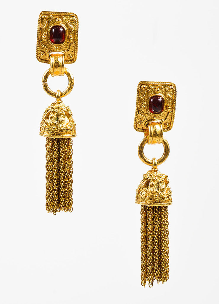 Gold Toned and Red Gripoix Stone Chanel 'CC' Tassel Clip On Earrings Frontview