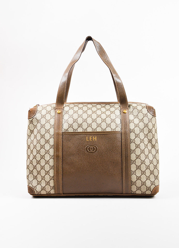 Gucci Beige and Brown Coated Canvas Leather Monogram Travel Tote Bag Frontview