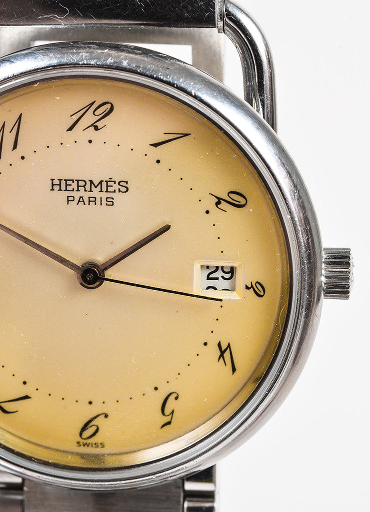 "Hermes Stainless Steel ""Arceau GM"" Quartz Watch and 'H' Bracelet Strap Detail"