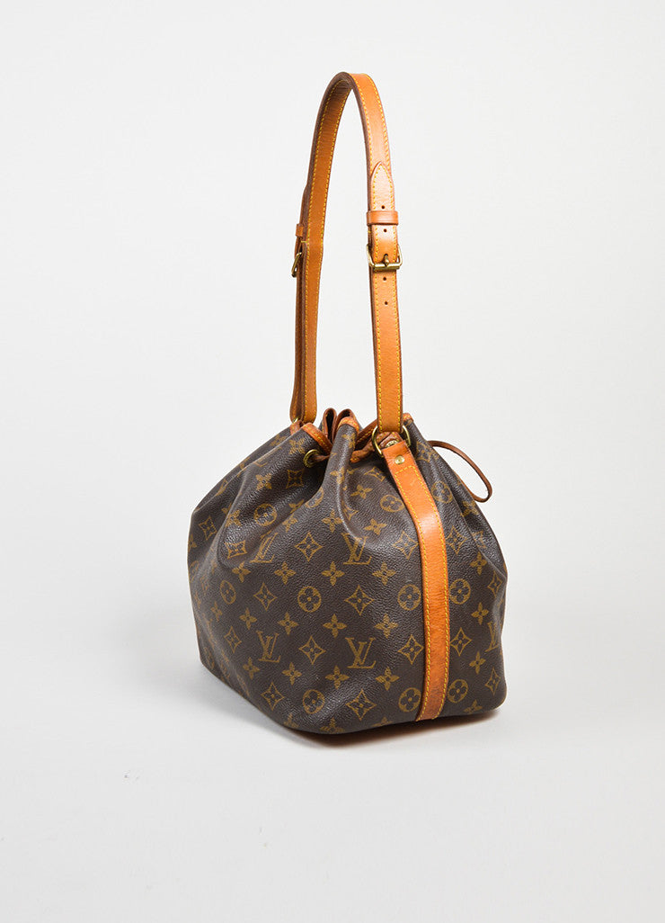 "Brown and Tan Louis Vuitton Coated Canvas Monogram ""Petit Noe"" Bucket Bag Sideview"