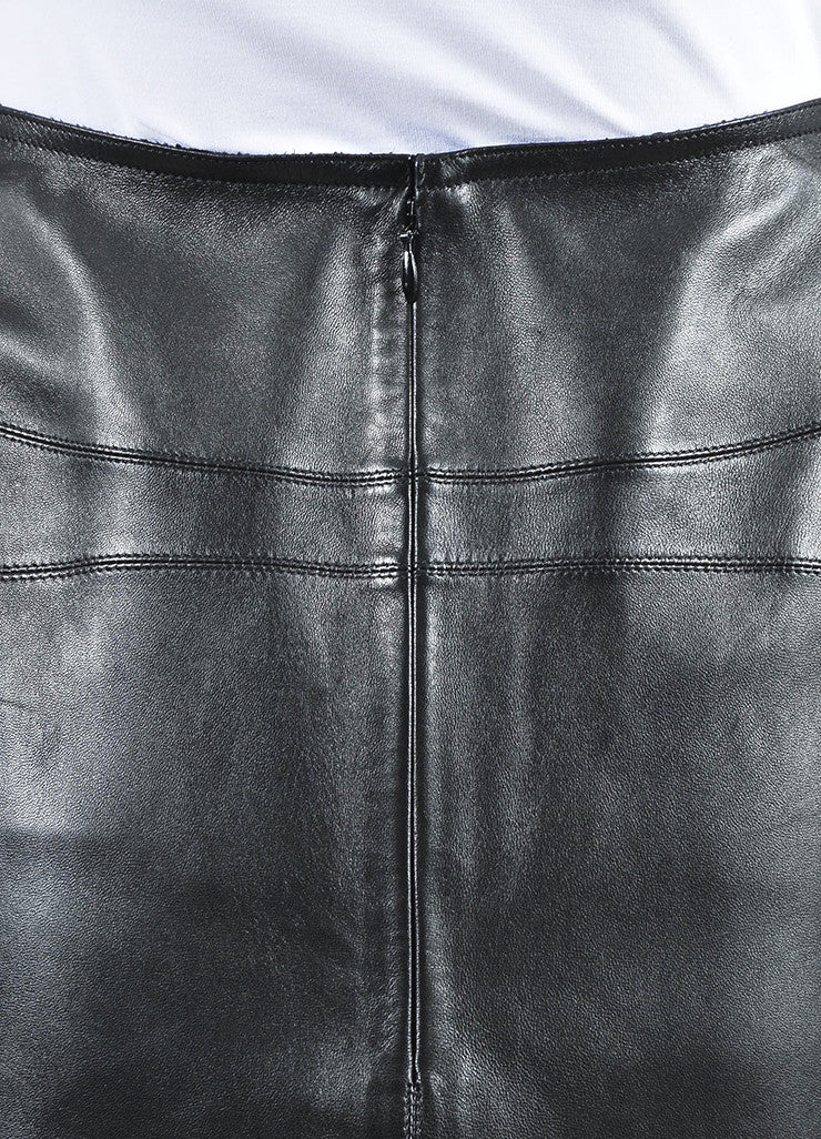 Black Alaia Lamb Leather Straight Cut Pencil Skirt Detail