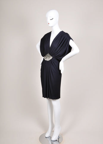 Azzaro Navy Jersey Knit Rhinestone Embellished Ruched Sleeveless Dress Sideview