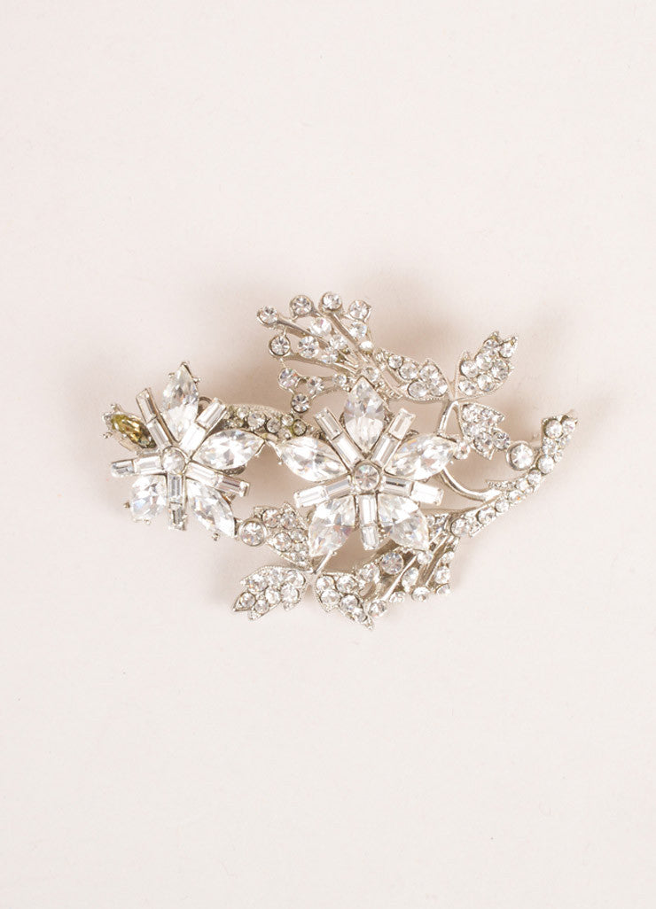 Barrera Silver Toned Rhinestone Embellished Floral Brooch Pin Frontview