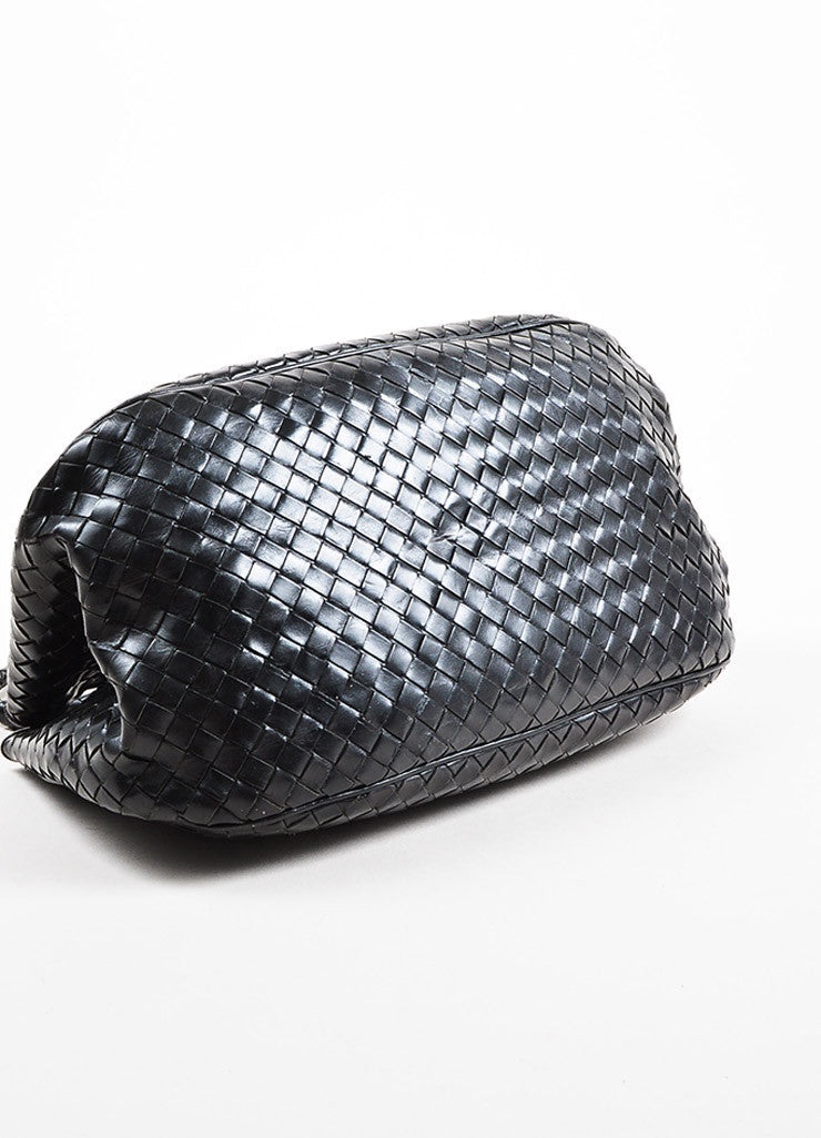 Bottega Veneta Black Leather Intrecciato Woven East West Tote Bag Detail