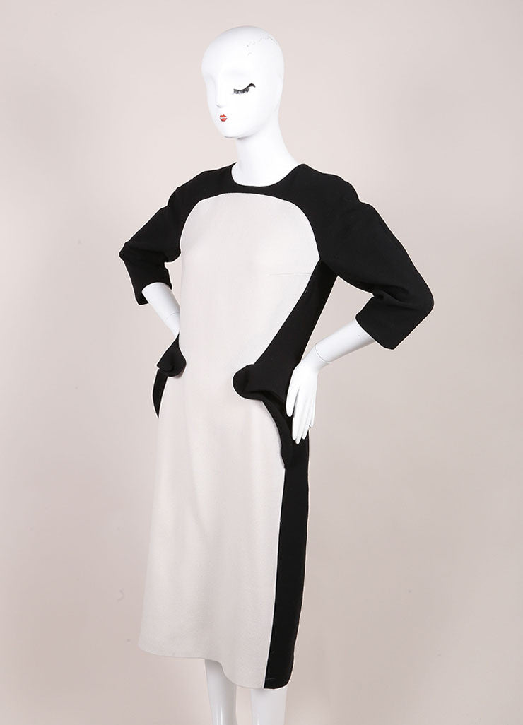 Bottega Veneta New With Tags Black and White Wool Peplum Dress Sideview
