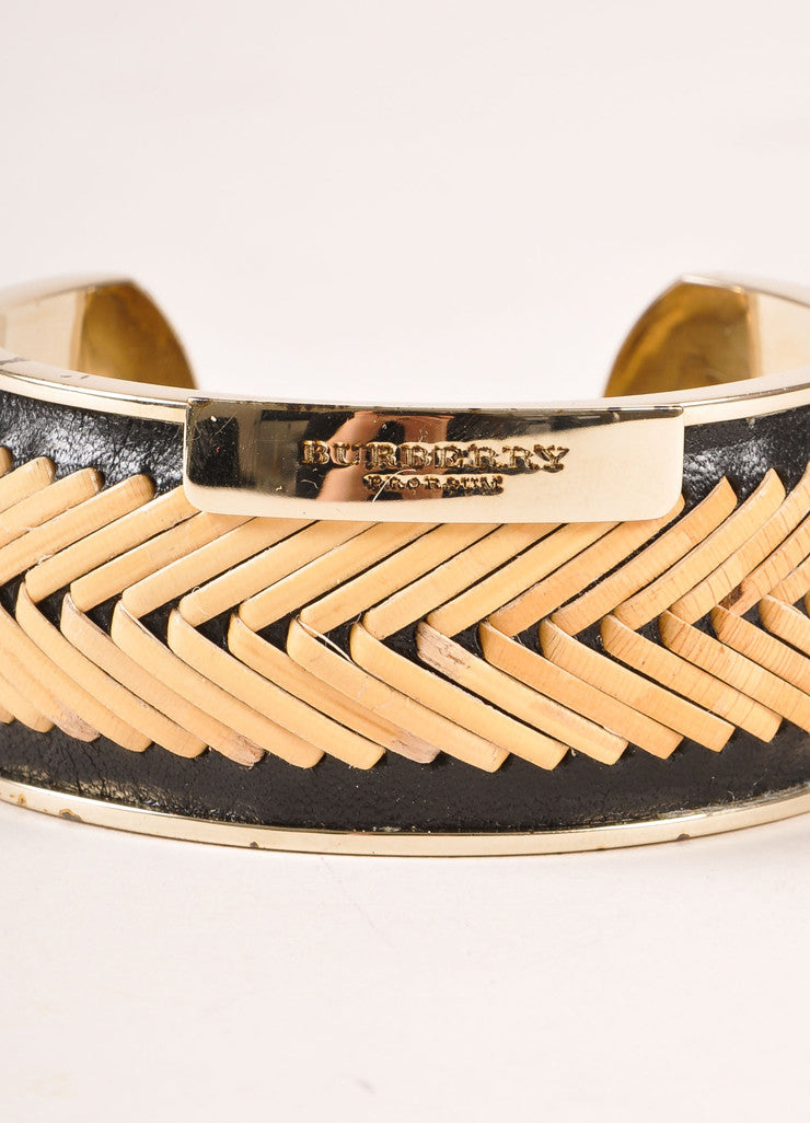 Burberry Prorsum Black, Tan, and Gold Toned Leather Straw Cuff Bracelet Brand