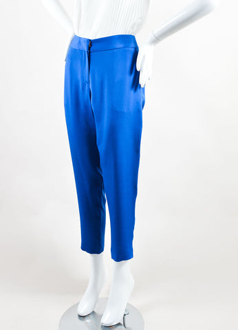 Cedric Charlier Royal Blue Silk Straight Leg Trouser Pants Sideview
