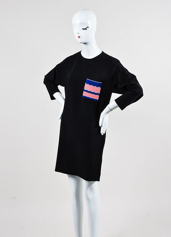 Black, Blue, and Red Celine Chest Pocket Three Quarter Sleeve Shift Dress Sideview