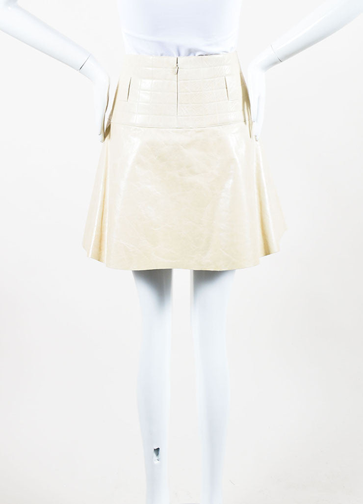 Cream Chanel Leather Quilted A Line Flounce Skirt Backview