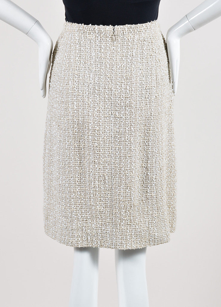 Cream Chanel Woven Tweed Knee Length A-Line Skirt Backview