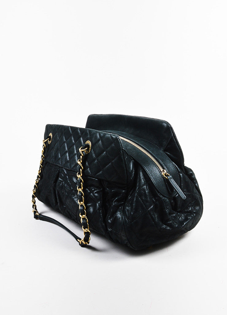 "Chanel Black and Gold Toned Iridescent Leather Chain ""Large Chic Quilt Bowling"" Bag Sideview"
