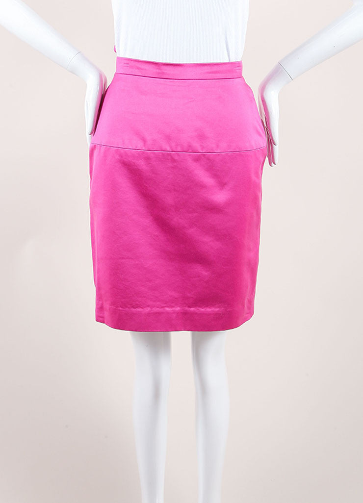 Chanel Pink Poplin Button Pencil Skirt Frontview