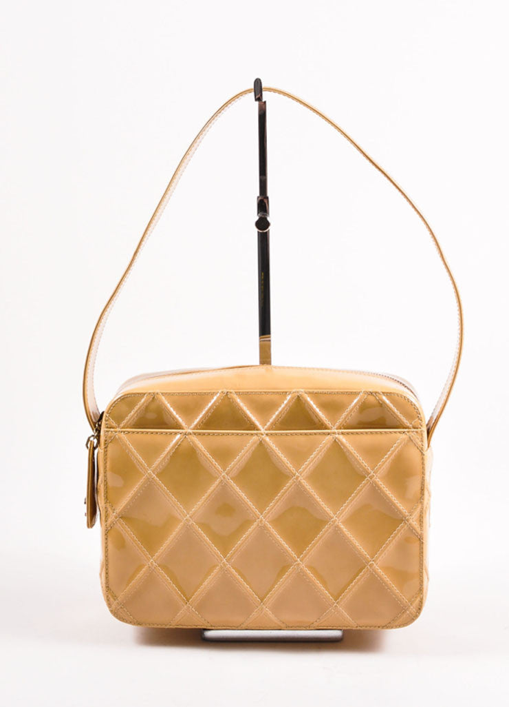 Chanel Tan Quilted Patent Leather Shoulder Bag Frontview
