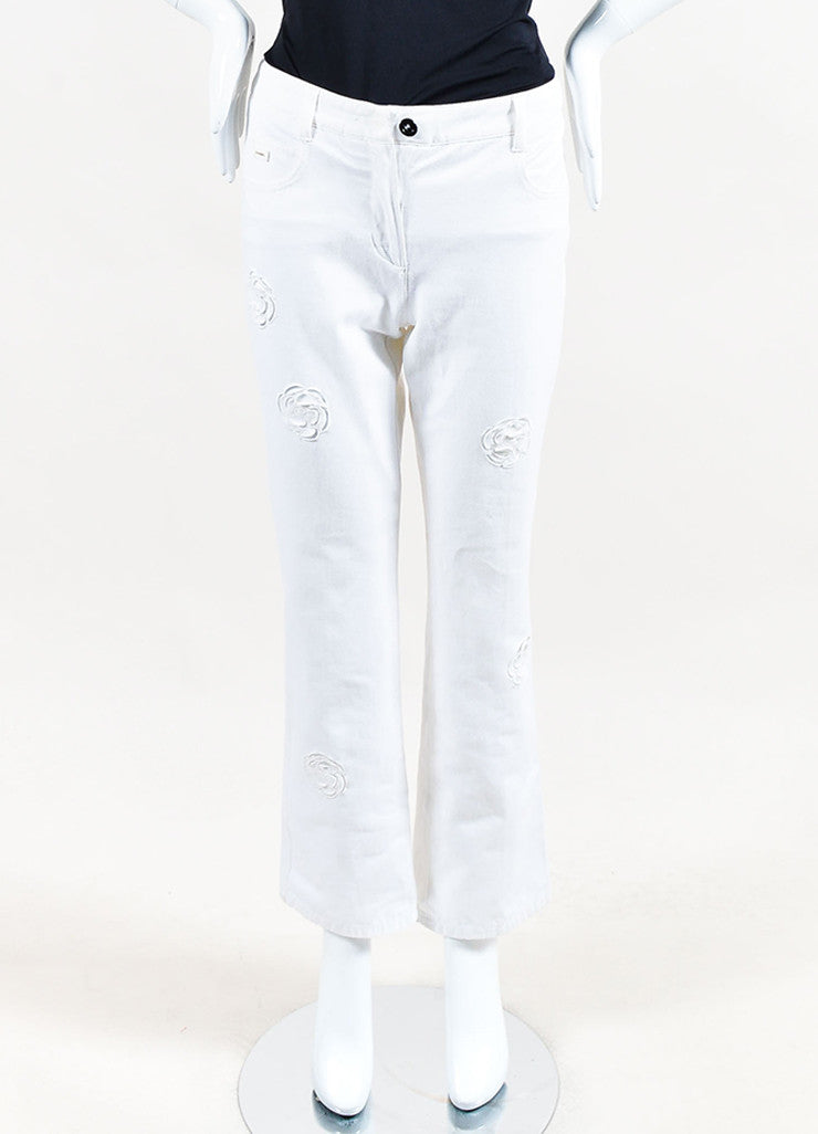 Chanel White Cotton Denim Flower Cut Out Wide Straight Leg Jeans Frontview
