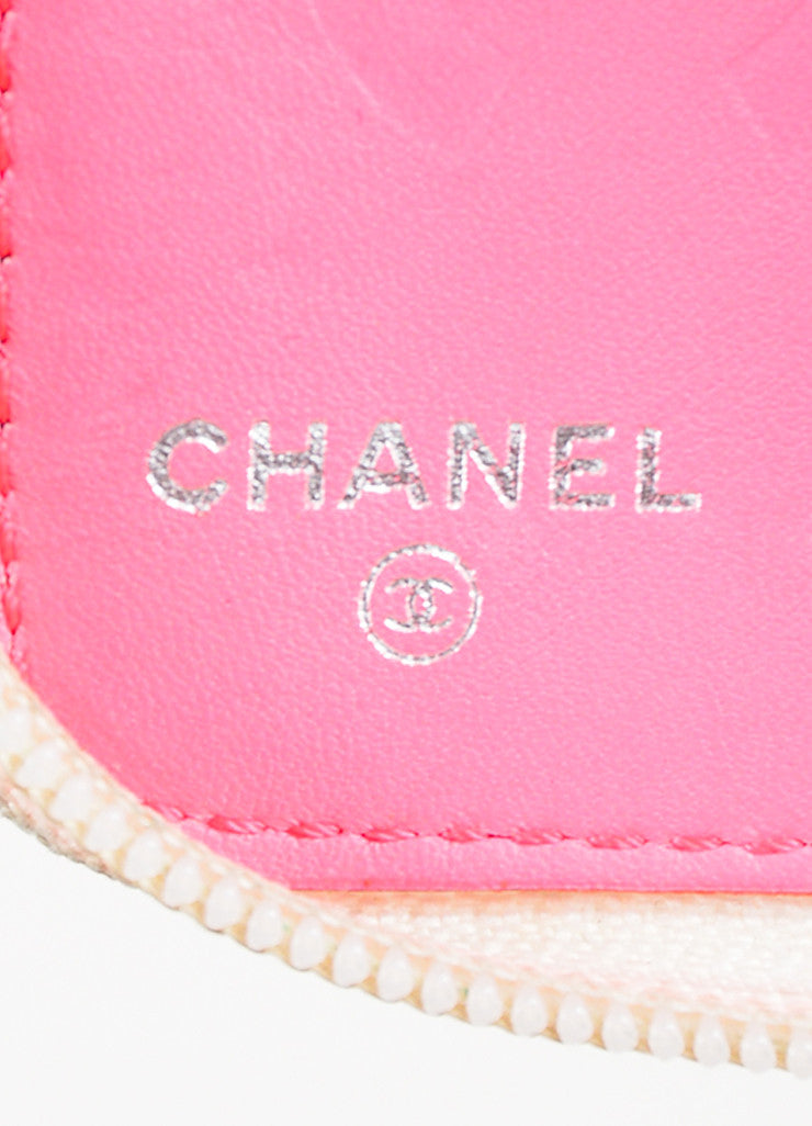 "Chanel White Quilted Lambskin Leather Black 'CC' Stitched ""Ligne Cambon"" Wallet Brand"