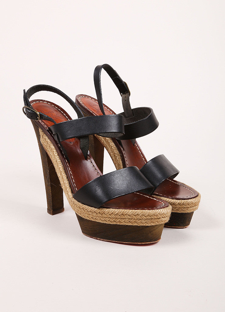 Christian Louboutin Black and Brown Leather Espadrille Wood Platform Sandals Frontview