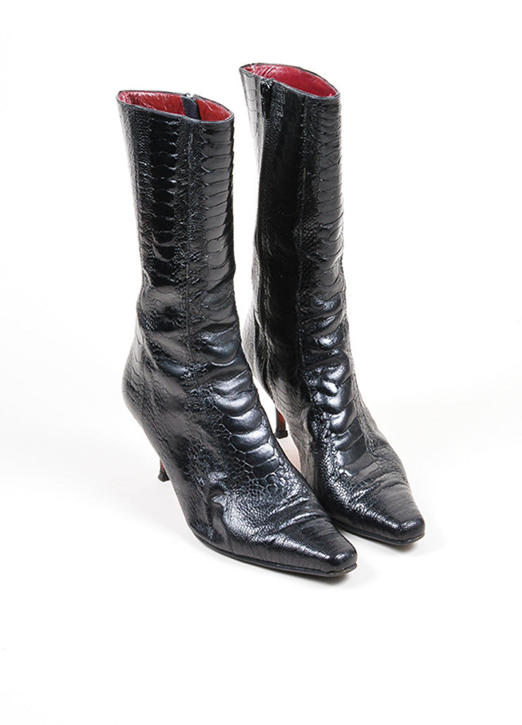 Black Christian Louboutin Crocodile Leather Heeled Calf High Boots Frontview