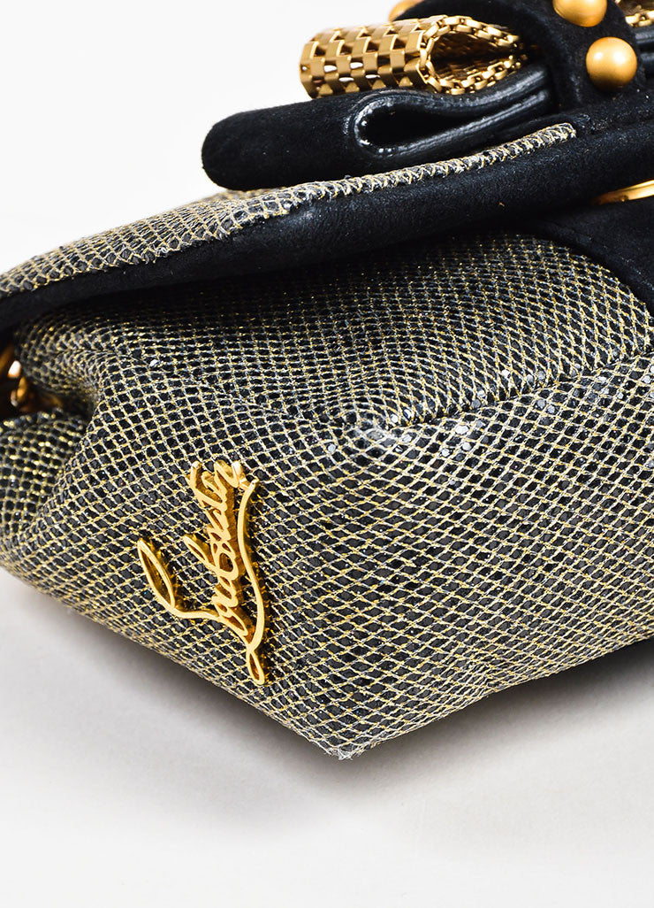 "Christian Louboutin Grey Gold Metallic Chain ""Mini Sweet Charity"" Bag Detail 2"