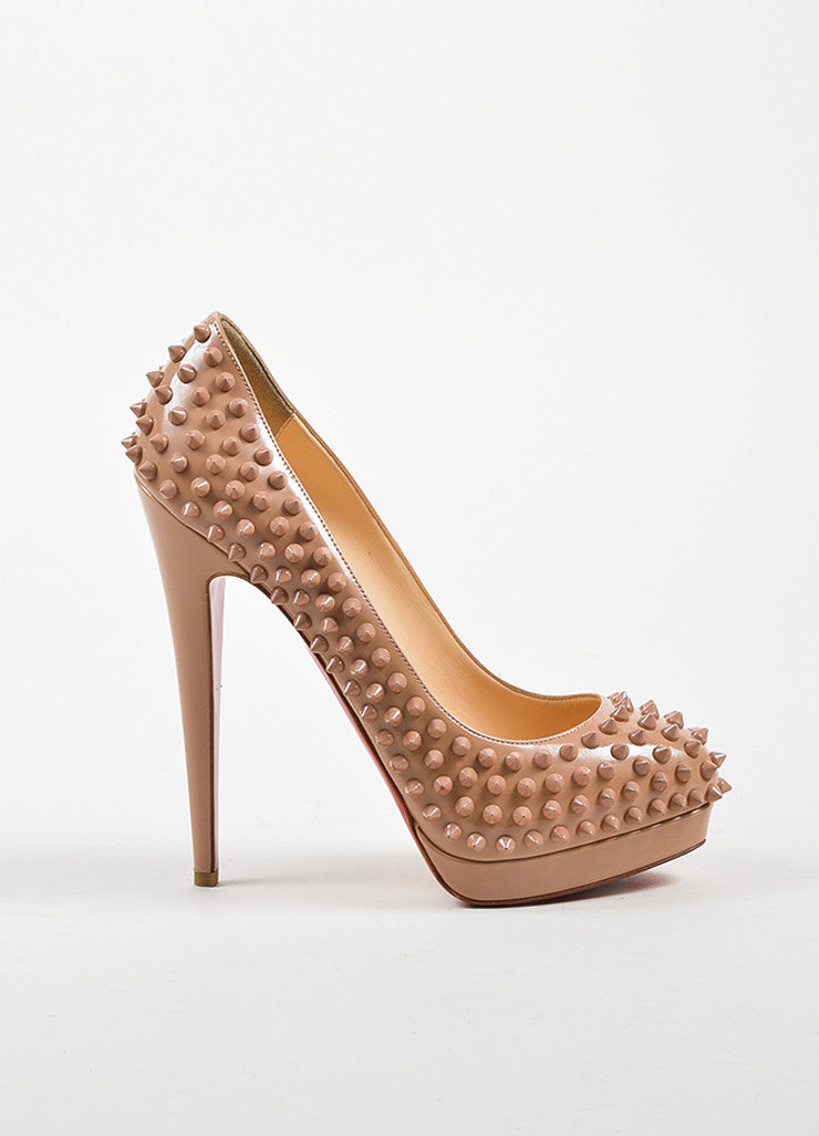 "Nude Leather Christian Louboutin ""Alti Pump Spikes 160"" Pumps Sideview"