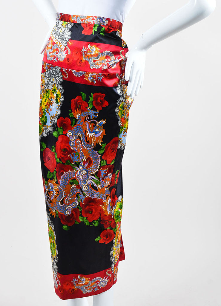 Multicolor Dolce & Gabbana Oriental Print Satin Ruched Midi Skirt Sideview