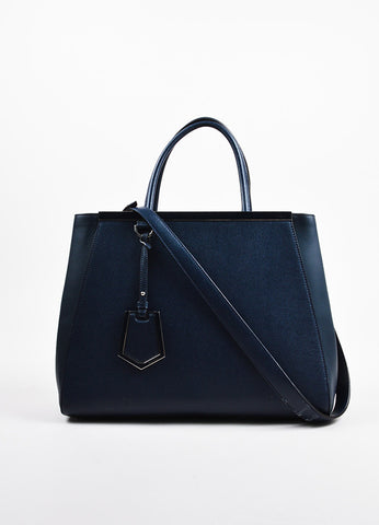"Fendi Navy and Silver Toned Dual Leather Crossbody Medium ""2Jours"" Satchel Bag Frontview"