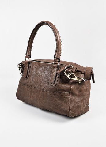 "Givenchy Brown Embossed Lizard Leather SHW ""Medium Pandora"" Satchel Bag Sideview"