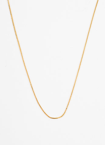 Gucci 18K Yellow Gold Box Link Chain Lariat Necklace Detail