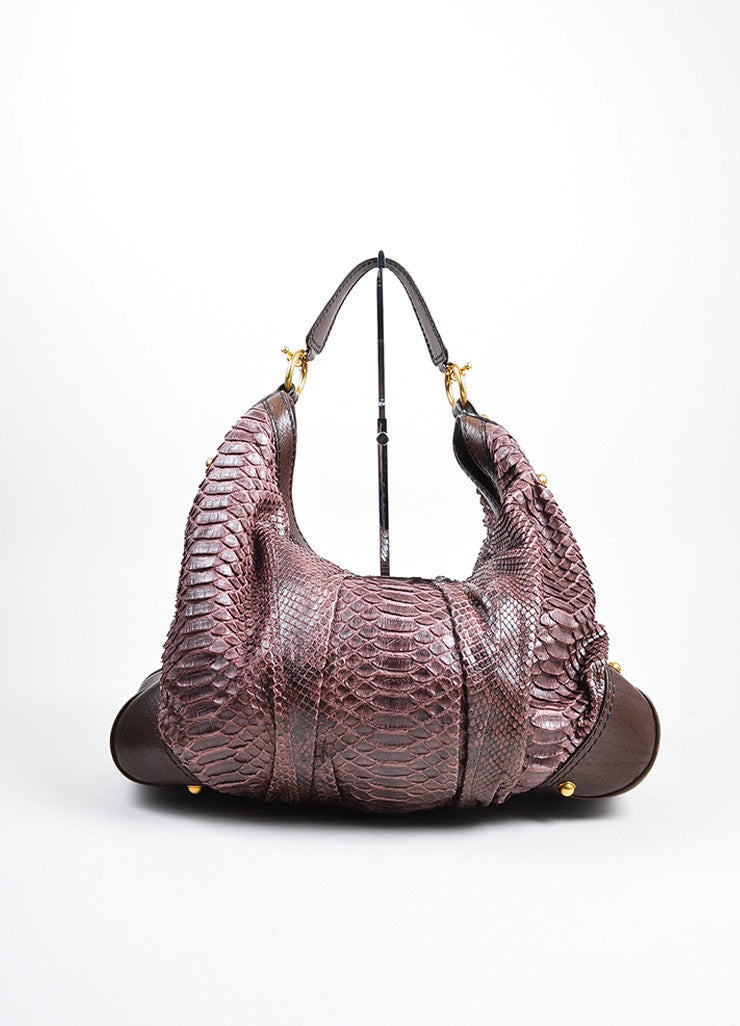 "Brown and Purple Gucci Python Leather ""Jockey"" Large Hobo Bag Frontview"