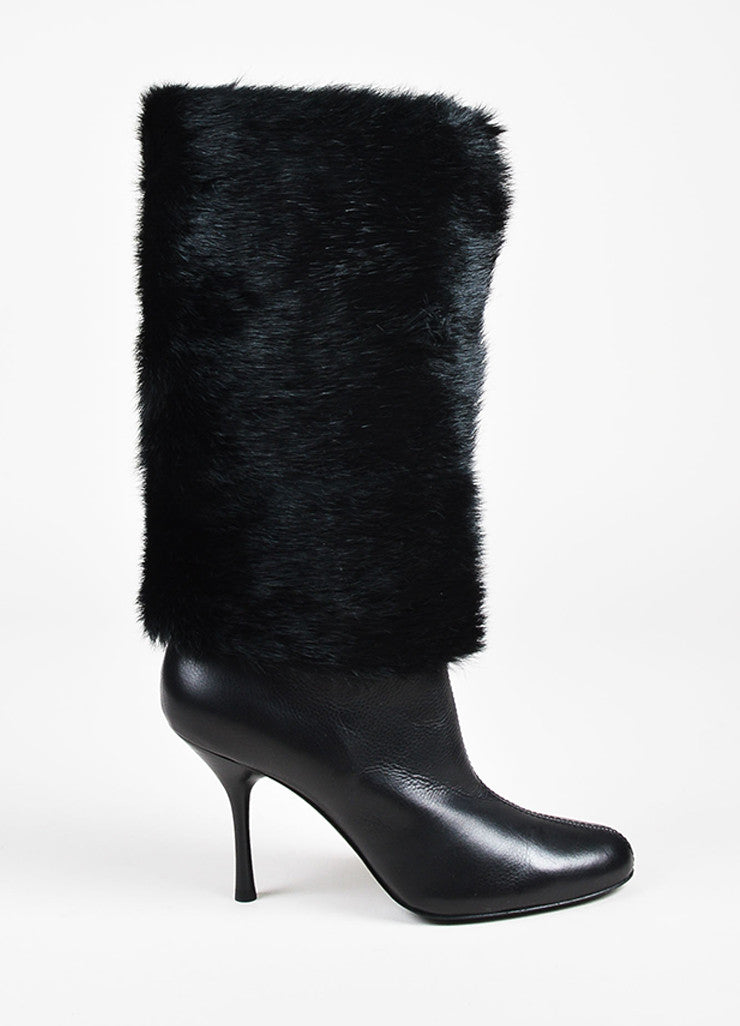 Gucci Black Pebbled Leather Mink Fur Shaft Almond Toe Heeled Boots Sideview