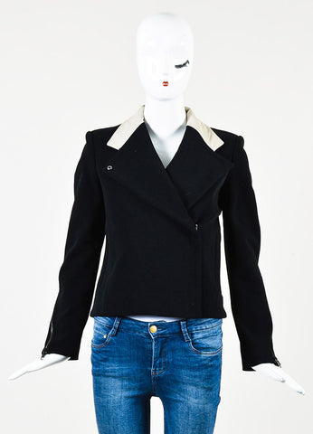 Helmut Lang Black and Beige Cotton Blend Leather Trim Jacket Frontview 2
