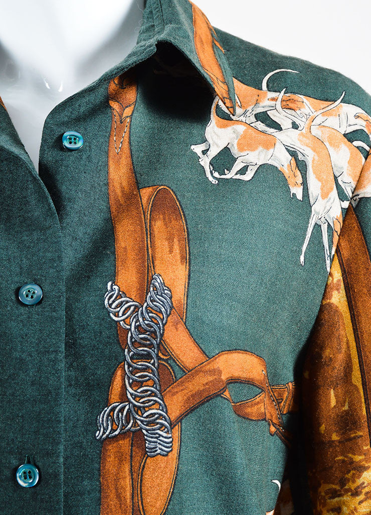 Green and Brown Hermes Cashmere Horse and Hound Printed Button Down Blouse Detail