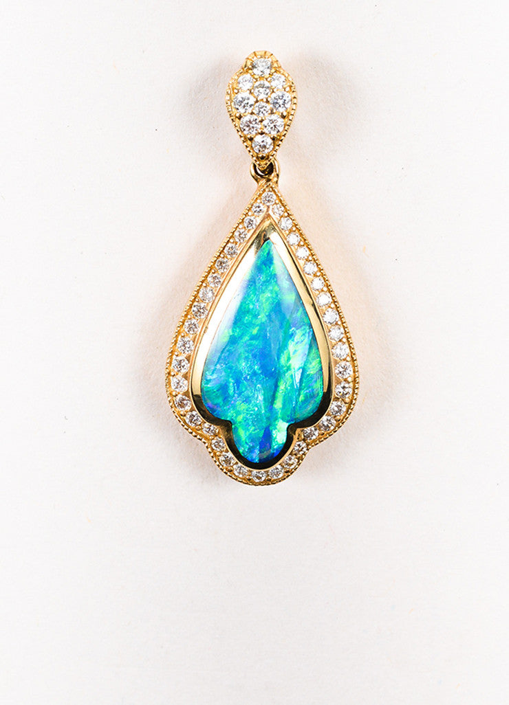 Kabana 14K Yellow Gold Blue Green Opal Diamond Drop Pendant Frontview