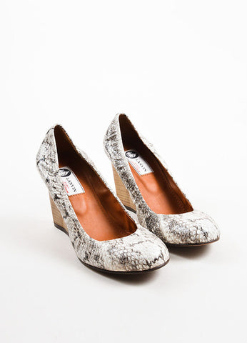 Cream and Black Snakeskin Wooden Wedge Heel Ballerina Pumps Frontview