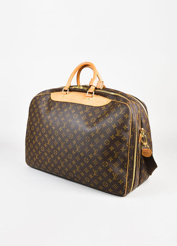 "Louis Vuitton Brown Coated Canvas Monogram ""Alize 2"" Travel Bag Back"