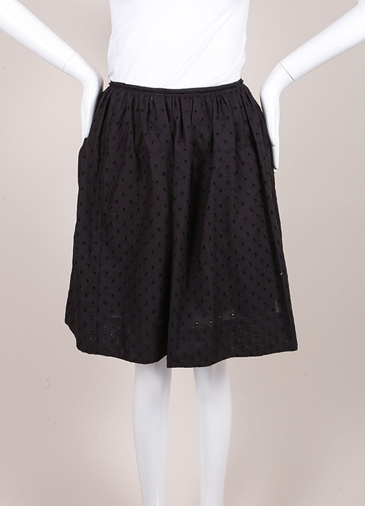 Marc Jacobs New With Tags Black Cotton Eyelet Knee Length Yoked Skirt Frontview