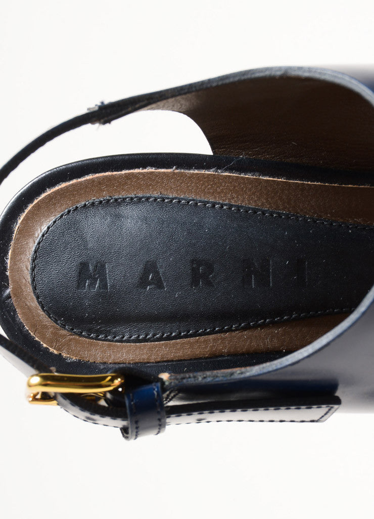 Marni Black and Navy Glossy Leather Slingback Platform Sandals Brand