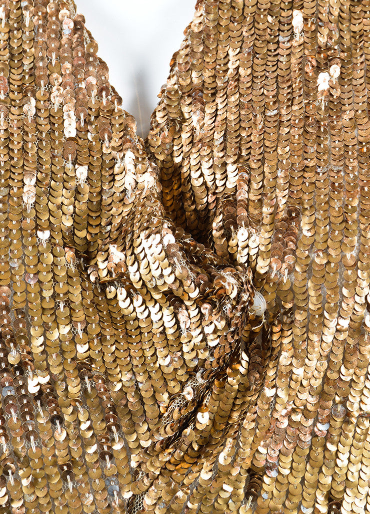 Marni Gold Sequin Semi Sheer Sleeveless Dress Detail