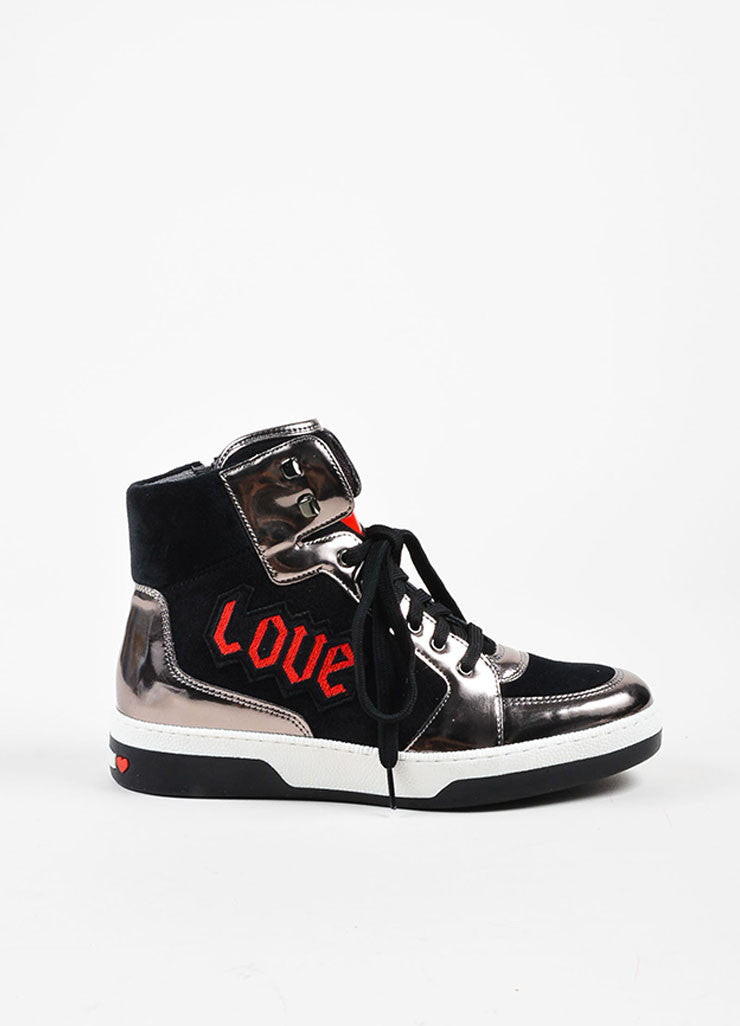 "Moschino Silver and Black Suede Leather ""Love"" High Top Sneakers Sideview"