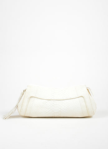 White Nancy Gonzalez Python Leather Tassel Zippered Oversized Clutch Bag Frontview