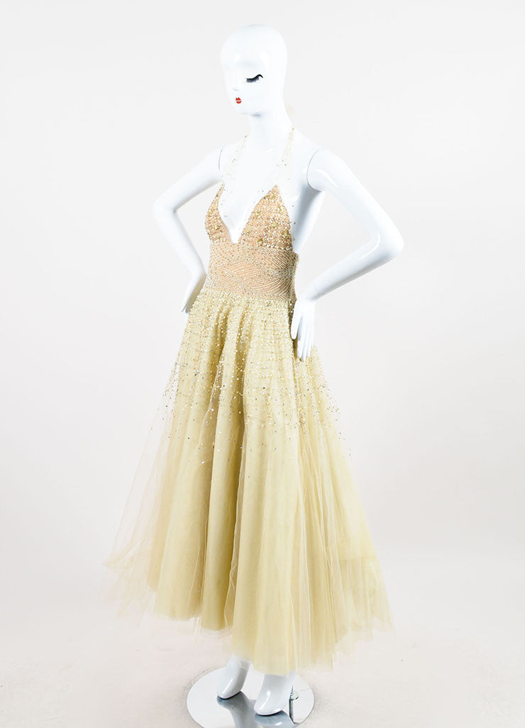 Pale Yellow Oscar de la Renta Tulle Pearl Beaded Halter Evening Gown Sideview